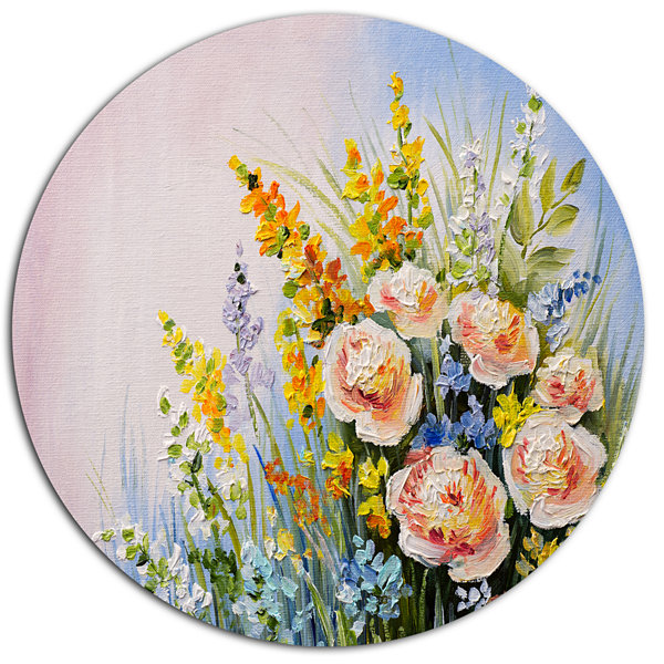 Designart Abstract Bouquet of Summer Flowers DiscFlower Artwork on Large Metal Circle Wall Art