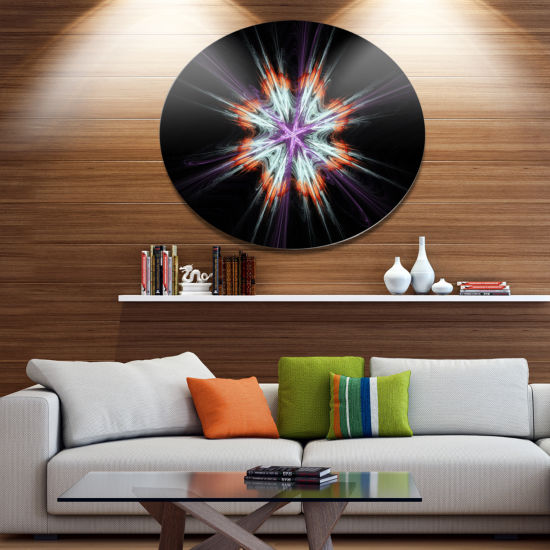 Designart Abstract Flowers on Black Background Disc Flower Artwork on Large Metal Circle Wall Art
