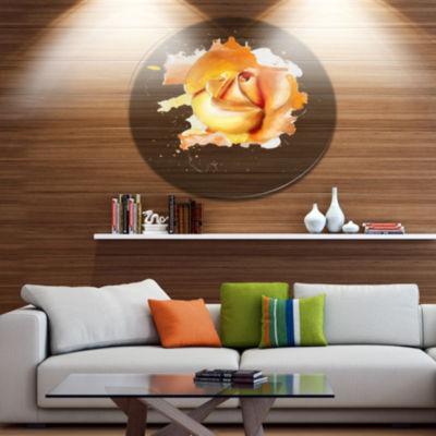 Designart Yellow Rose Flower on White Back Disc Flower Artwork on Large Metal Circle Wall Art