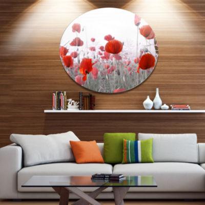 Designart Amazing Red Poppy Flower Garden Disc Flower Artwork on Large Metal Circle Wall Art