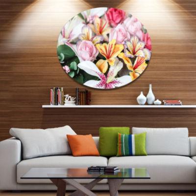 Designart Beautiful Sugar Flower Decoration Disc Flower Artwork on Large Metal Circle Wall Art