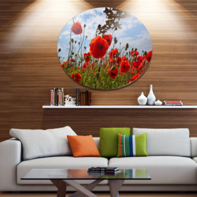 Designart Bright Red Poppy Flowers Photo Disc Flower Artwork on Large Metal Circle Wall Art