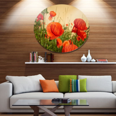 Designart Colorful Red Poppy Flower Field Disc Flower Artwork on Large Metal Circle Wall Art