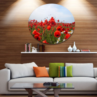 Designart Red Poppies under Bright Blue Sky Disc Flower Artwork on Large Metal Circle Wall Art