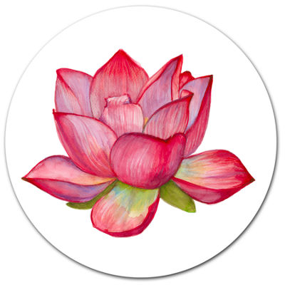 Designart Pink Lotus Watercolor Illustration DiscFlower Artwork on Large Metal Circle Wall Art