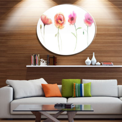 Designart Watercolor Poppy Flowers Sketch Disc Flower Artwork on Large Metal Circle Wall Art