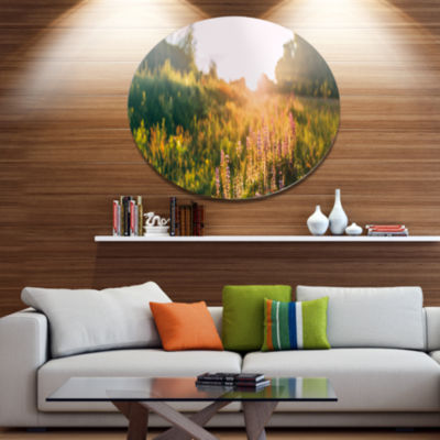 Designart Bloomy Glade of Wild Flowers Disc LargeLandscape Large Metal Circle Wall Art