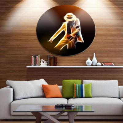Designart Moonwalker in Dance Style Disc PortraitLarge Metal Circle Wall Art
