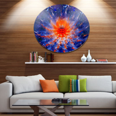 Designart Colorful Glowing Flower in Space Disc Flower Artwork on Large Metal Circle Wall Art