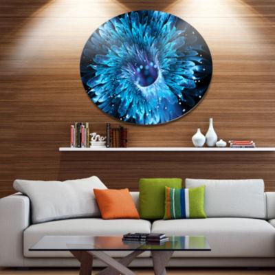 Designart Blue Magical Wormhole Fractal Disc LargeAbstract Large Metal Circle Wall Art