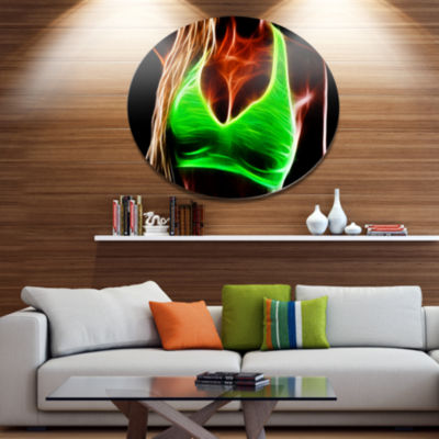 Designart Glowing Sexy Women with Big Tits Disc Portrait Large Metal Circle Wall Art