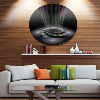 Designart Shiny Colorful Abstract Flower Theme Disc Flower Artwork on Large Metal Circle Wall Art