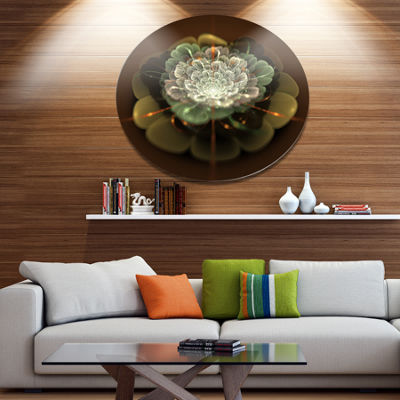 Designart White Fractal Flower on Brown Disc Flower Artwork on Large Metal Circle Wall Art