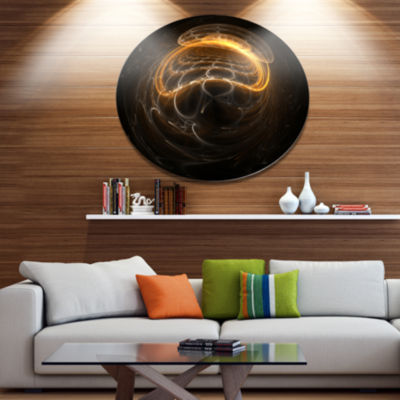Designart Beautiful Fractal Sphere Pattern Disc Flower Artwork on Large Metal Circle Wall Art