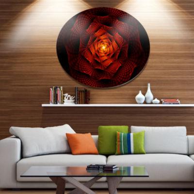 Designart Fractal Red Flower of Passion Disc Flower Artwork on Large Metal Circle Wall Art
