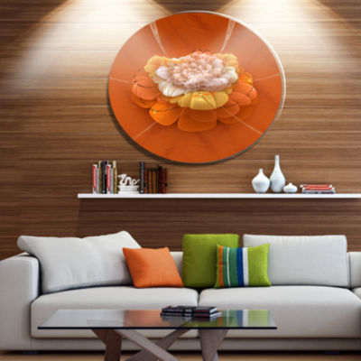 Designart Yellow Blossom Fractal Flower Disc Flower Artwork on Large Metal Circle Wall Art