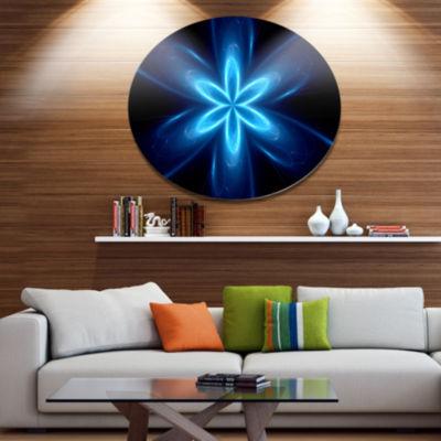 Designart Blue Glowing Space Fractal Flower Disc Flower Artwork on Large Metal Circle Wall Art