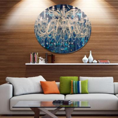 Designart Blue Vintage Crystal Chandelier Disc Flower Artwork on Large Metal Circle Wall Art