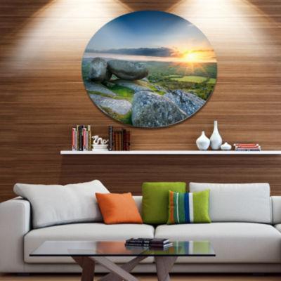 Designart Sunset at Helman Tor in Cornwall Disc Seashore Large Metal Circle Wall Art