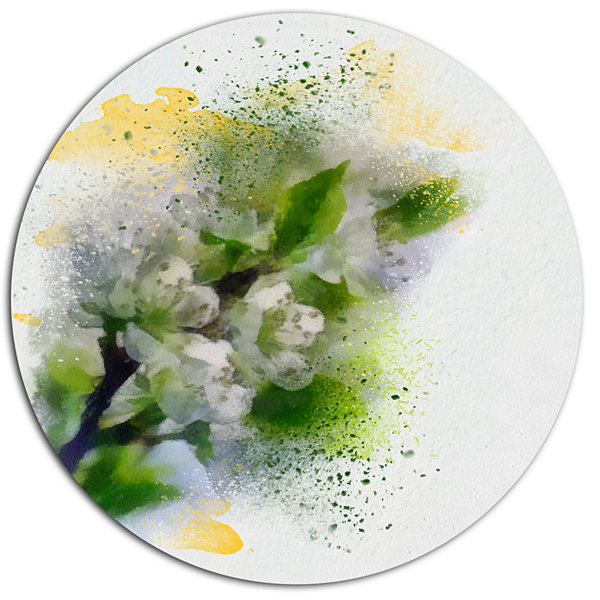 Designart Cherry Branch with Leaves and Flowers Disc Flower Artwork on Large Metal Circle Wall Art