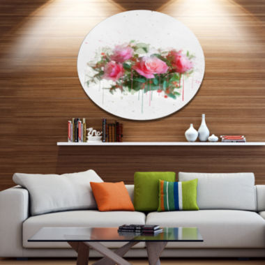 Designart Bunch of Pink Roses Watercolor Disc Flower Artwork on Large Metal Circle Wall Art