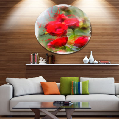 Designart Red Roses on Green Watercolor Disc Flower Artwork on Large Metal Circle Wall Art