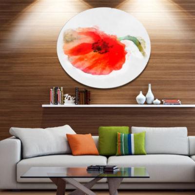 Designart Large Red Poppy on White Back Disc Flower Artwork on Large Metal Circle Wall Art