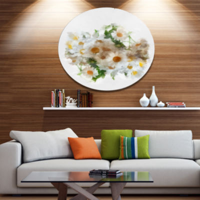 Designart Bunch of White Chamomiles Watercolor Disc Flower Artwork on Large Metal Circle Wall Art