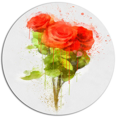 Designart Bunch of Red Roses Watercolor Disc Flower Artwork on Large Metal Circle Wall Art