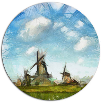 Designart Watercolor Windmill in Netherlands DiscLarge Landscape Large Metal Circle Wall Art