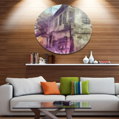 Designart Old City Street Watercolor Sketch Disc Large Cityscape Large Metal Circle Wall Art