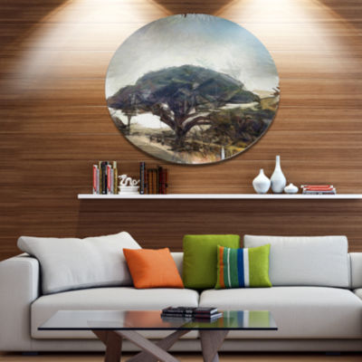 Designart Lonely Oak Tree Watercolor Sketch Disc Large Landscape Large Metal Circle Wall Art
