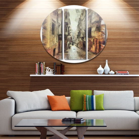 Designart Path in Street Watercolor Stretch Disc Large Cityscape Large Metal Circle Wall Art