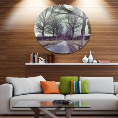 Designart Abstract Nature Watercolor Sketch Disc Large Landscape Large Metal Circle Wall Art