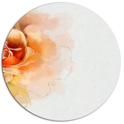 Designart Orange Rose Flower Watercolor Disc Flower Artwork on Large Metal Circle Wall Art
