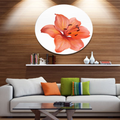 Designart Beautiful Red Lily Watercolor Sketch Disc Flower Artwork on Large Metal Circle Wall Art