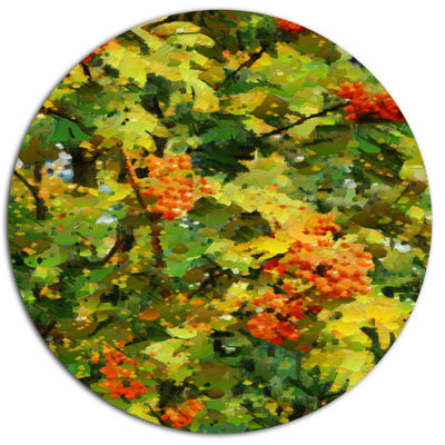 Designart Floral Pattern with Palette Knife Disc Flower Artwork on Large Metal Circle Wall Art