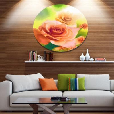 Designart Beautiful Watercolor Roses on Green DiscFlower Artwork on Large Metal Circle Wall Art