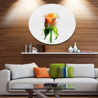 Designart Yellow Rose with Steam Drawing Disc Flower Artwork on Large Metal Circle Wall Art