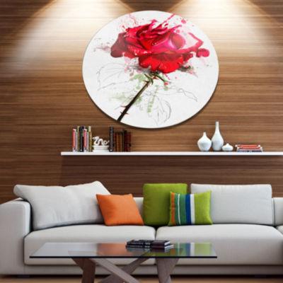 Designart Rose Sketch with Stem on White Disc Flower Artwork on Large Metal Circle Wall Art