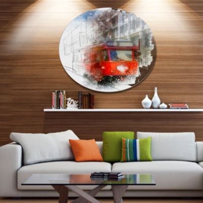 Designart Red Trolley Car Watercolor Sketch Disc Large Cityscape Large Metal Circle Wall Art