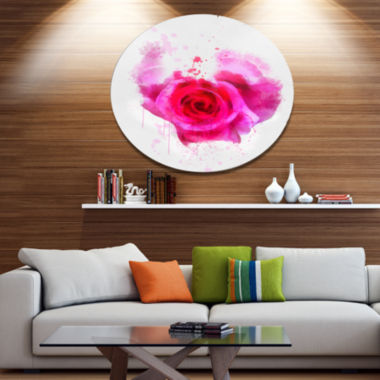 Designart Pink Hand drawn Rose on White Disc Floral Large Metal Circle Wall Art