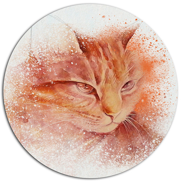 Designart Brown Cat Face Sketch on White Disc Large Animal Metal Artwork