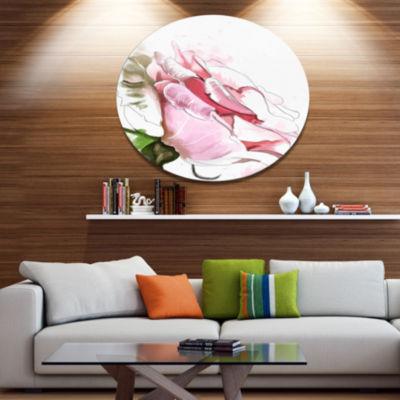 Designart Pink Rose Illustration on White Disc Floral Large Metal Circle Wall Art