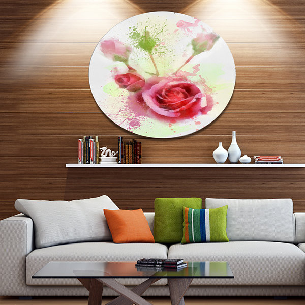 Designart Bloomy and Budding Red Roses Disc FloralLarge Metal Circle Wall Art