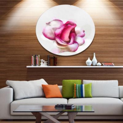 Designart Pink Hand drawn Red Rose on White Disc Floral Large Metal Circle Wall Art