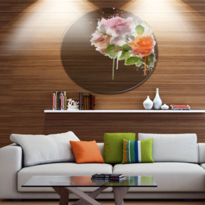 Designart Pink and Orange Roses on White Disc Forest Large Metal Circle Wall Art