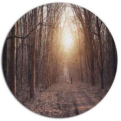 Designart Forest Pathway View at Sunset Disc Forest Large Metal Circle Wall Art