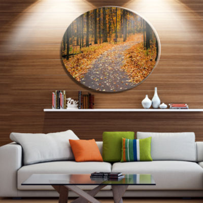 Designart Autumn Walk Way with Fallen Leaves DiscForest Large Metal Circle Wall Art