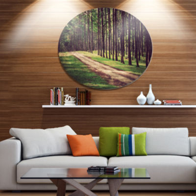 Designart Vintage Style Forest with Pathway Disc Forest Large Metal Circle Wall Art
